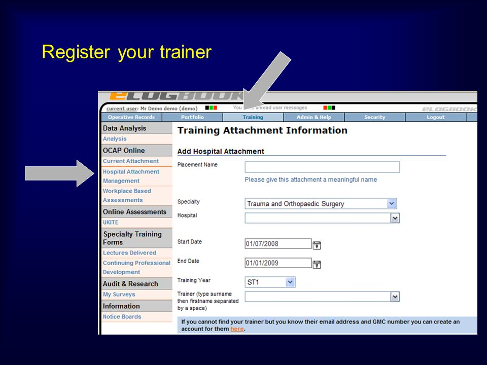 Register your trainer