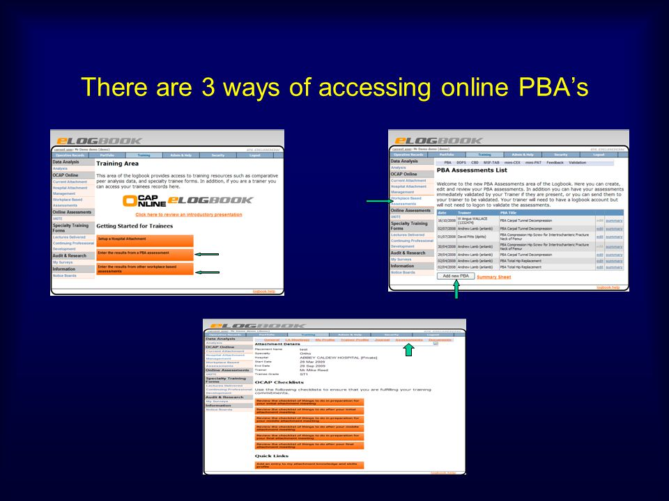 There are 3 ways of accessing online PBA's