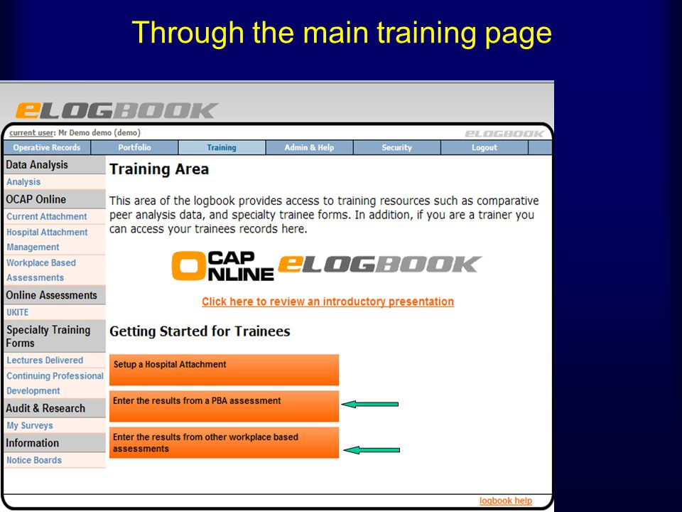 Through the main training page