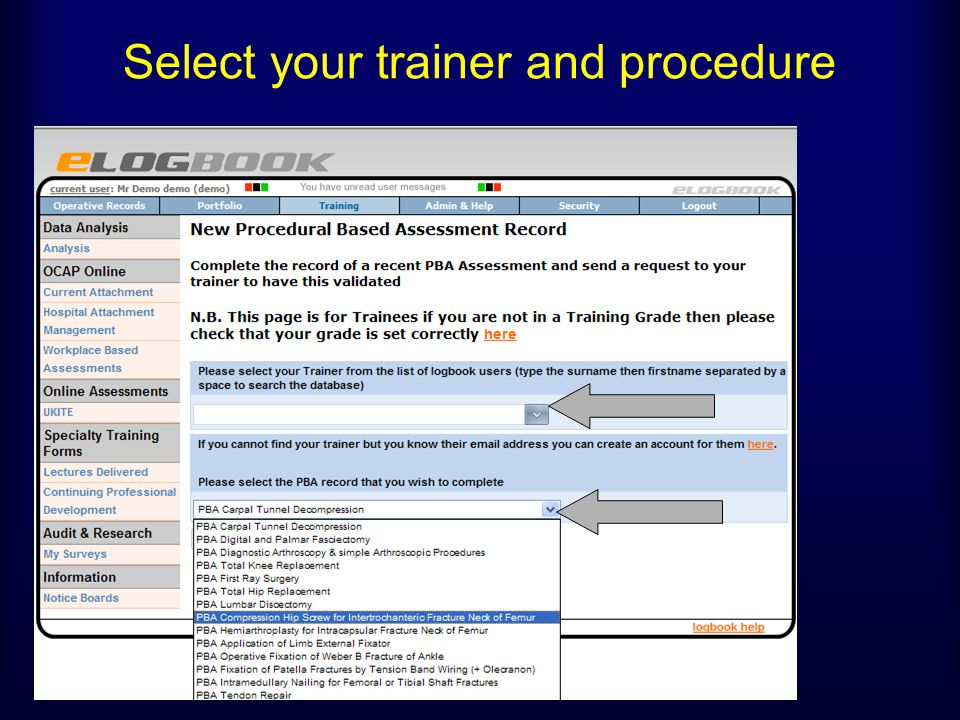 Select your trainer and procedure