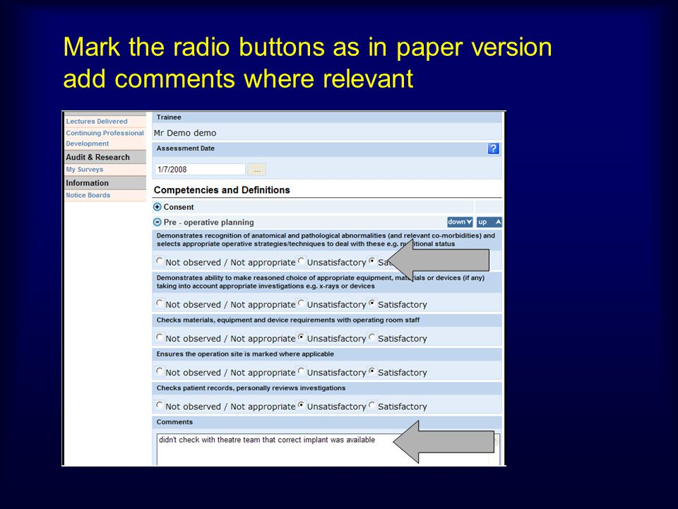 Mark the radio buttons as in paper version add comments where relevant