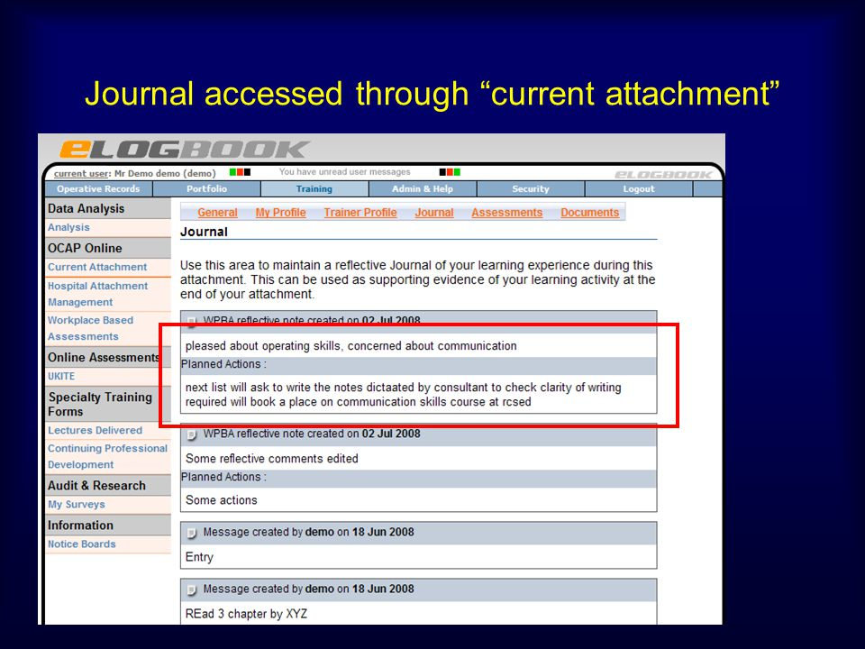 Journal accessed through current attachment