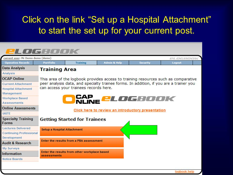 Click on the link Set up a Hospital Attachment to start the set up for your current post.