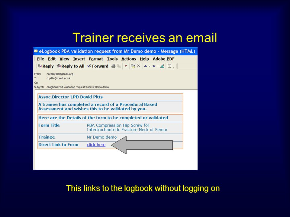 Trainer receives an email