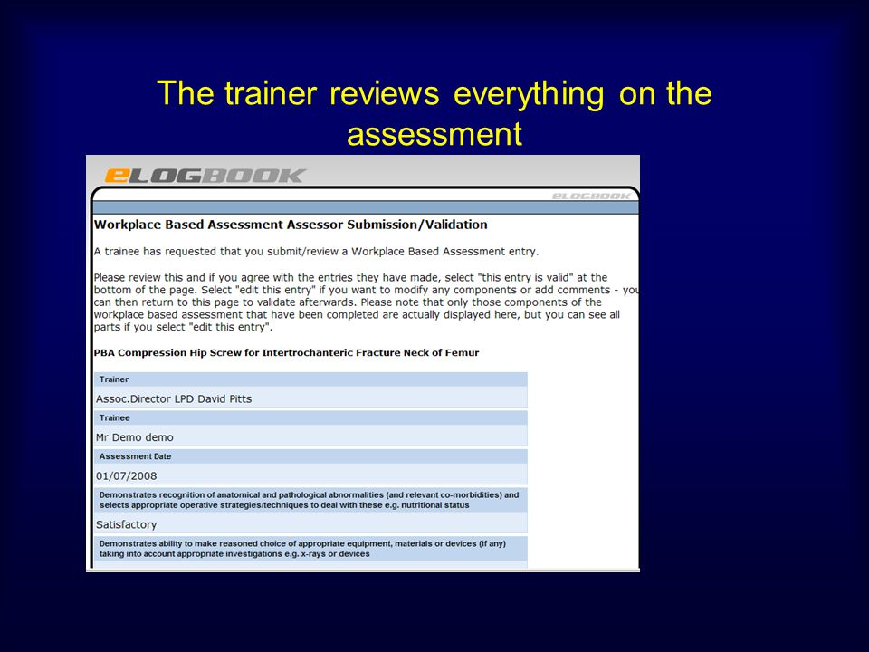 The trainer reviews everything on the assessment
