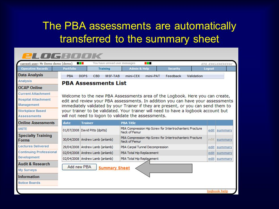 The PBA assessments are automatically transferred to the summary sheet