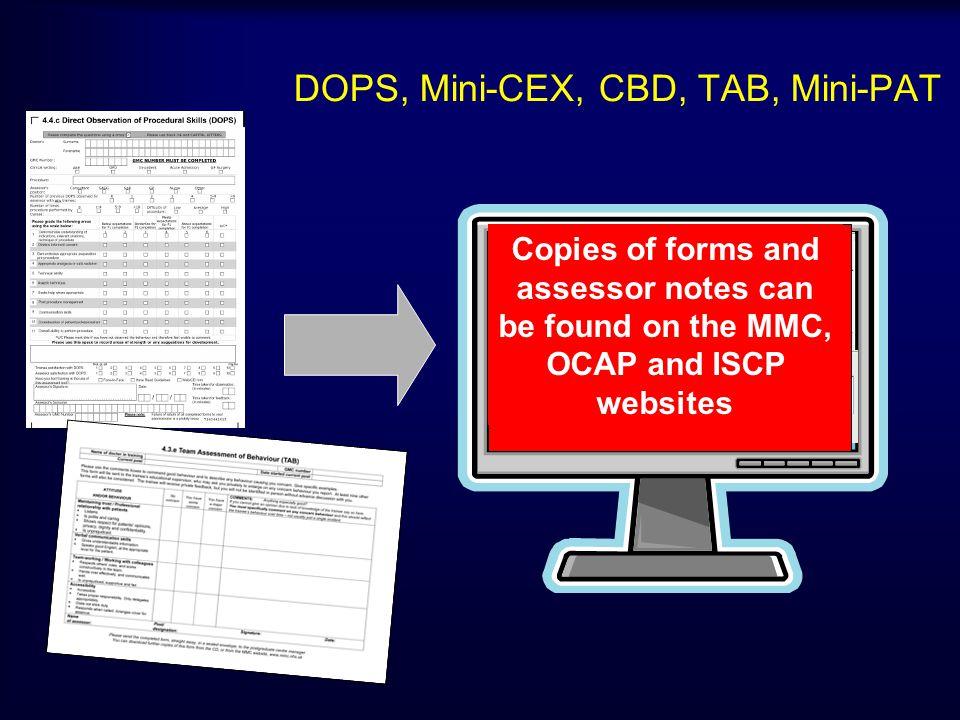 DOPS, Mini-CEX, CBD, TAB, Mini-PAT