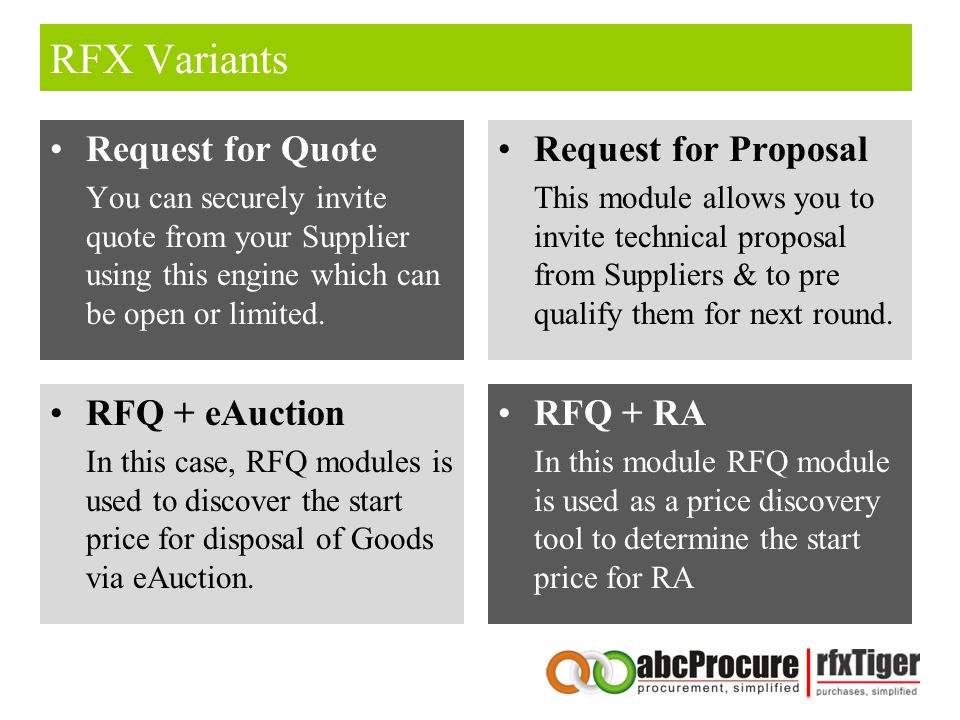 RFX Variants Request for Quote Request for Proposal RFQ + eAuction