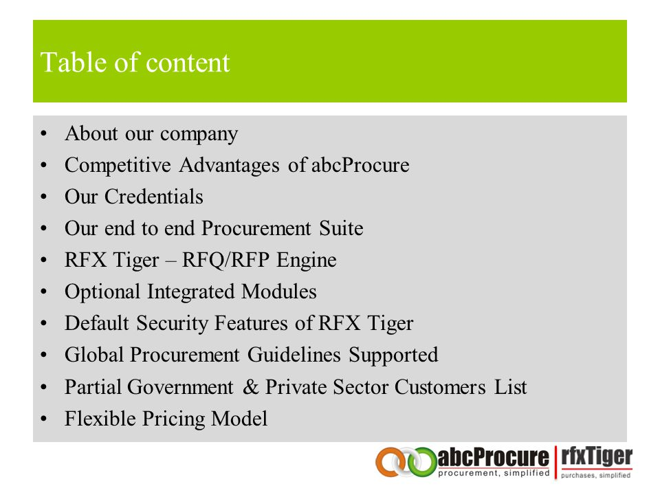 Table of content About our company