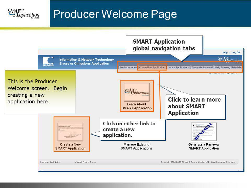 Producer Welcome Page SMART Application global navigation tabs