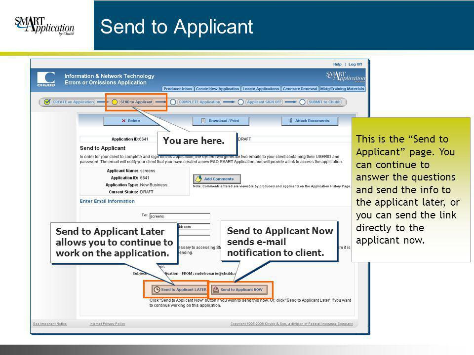 Send to Applicant You are here.