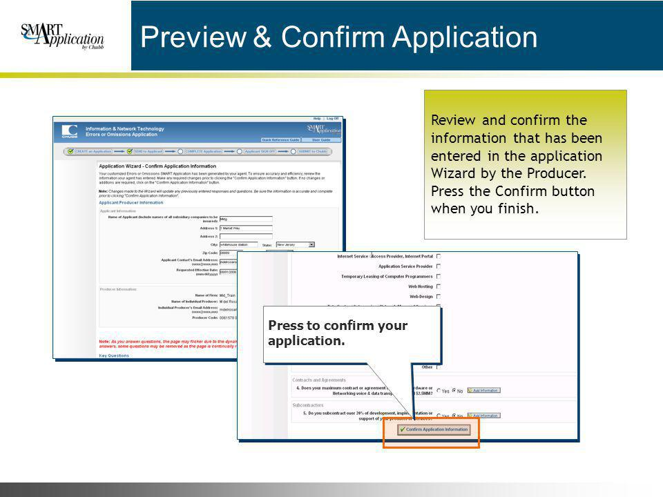 Preview & Confirm Application