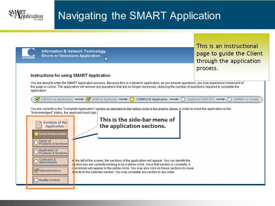 Navigating the SMART Application
