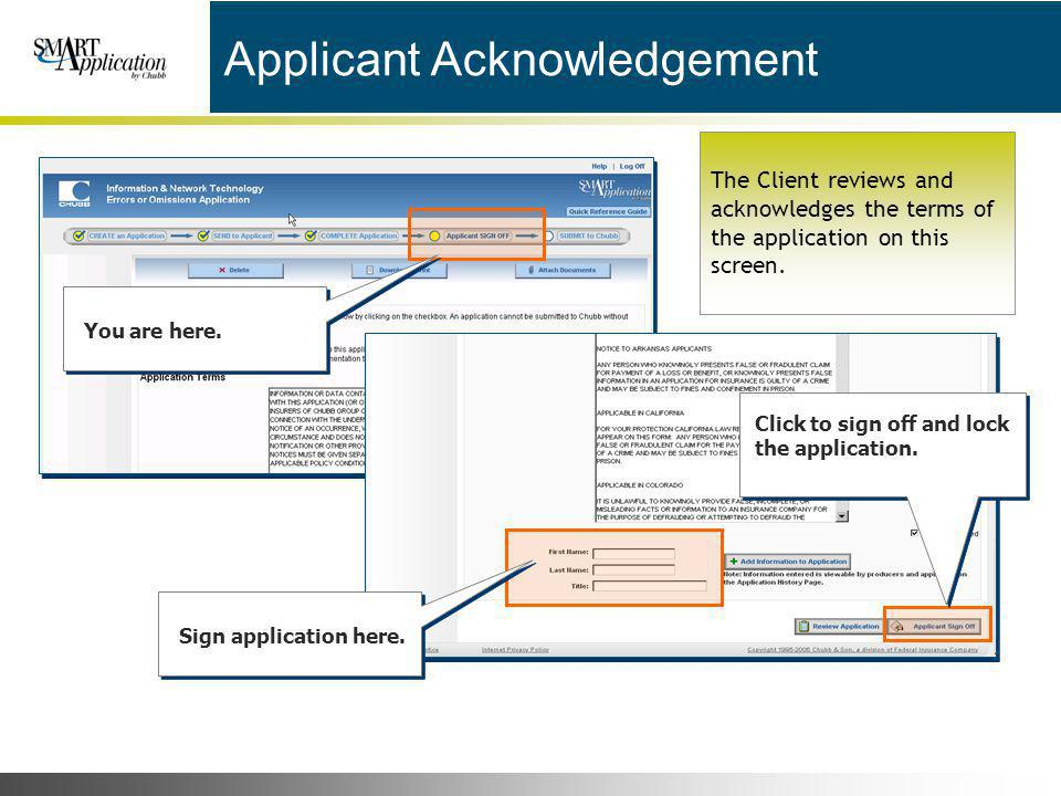 Applicant Acknowledgement