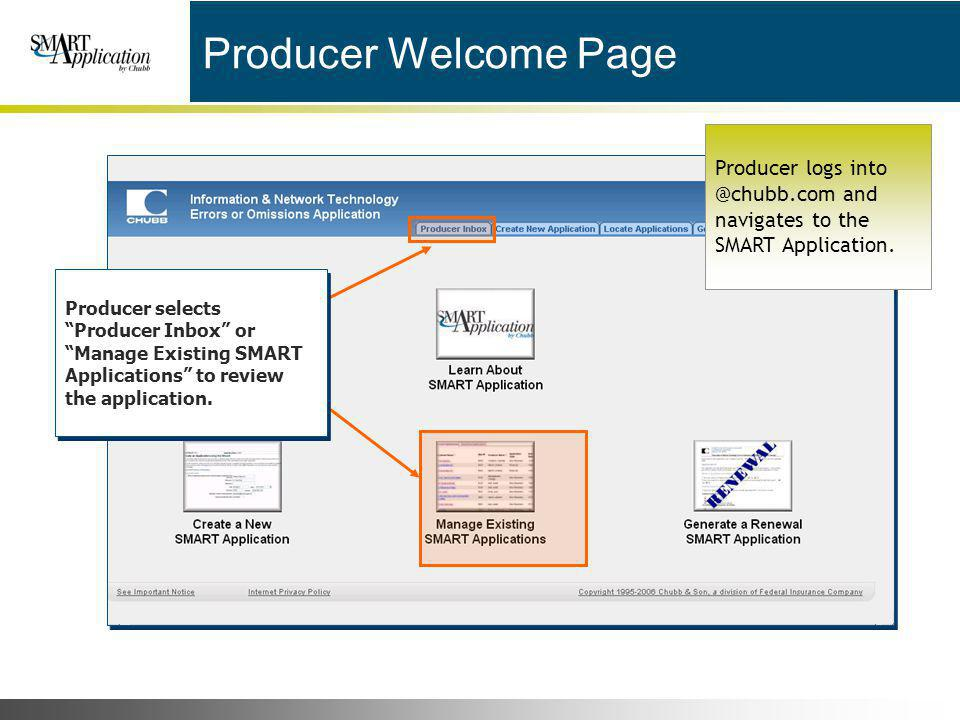 Producer Welcome Page Producer logs into @chubb.com and navigates to the SMART Application.