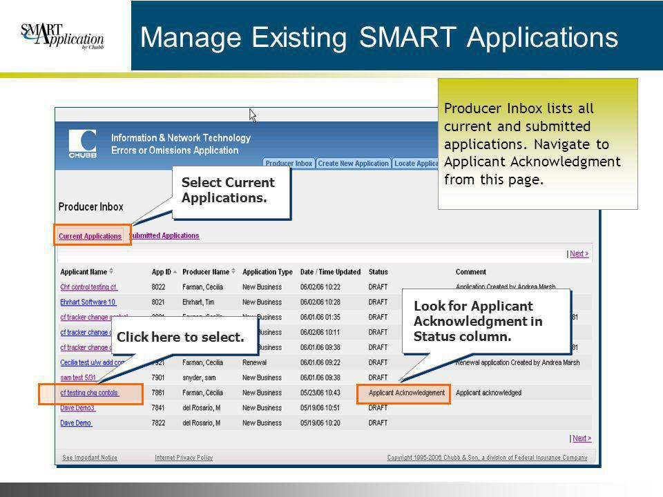 Manage Existing SMART Applications