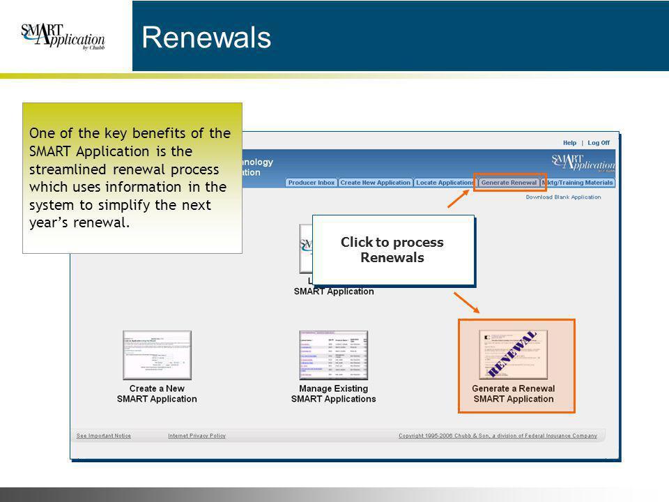 Click to process Renewals