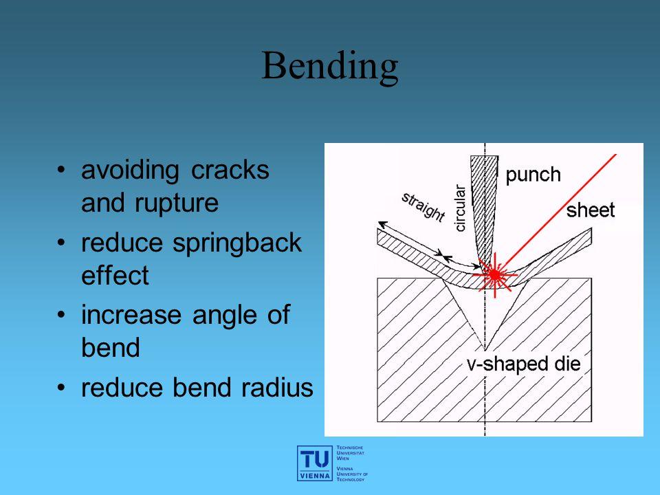 Bending avoiding cracks and rupture reduce springback effect