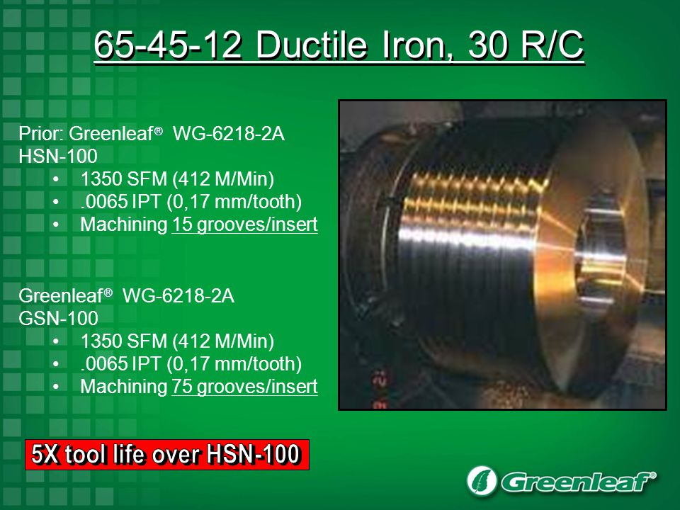 65-45-12 Ductile Iron, 30 R/C 5X tool life over HSN-100