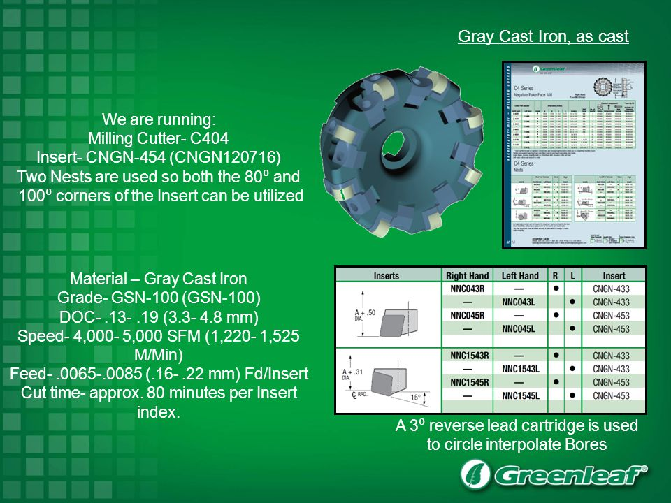 Gray Cast Iron, as cast We are running: Milling Cutter- C404