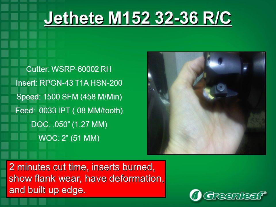 Jethete M152 32-36 R/C 2 minutes cut time, inserts burned,