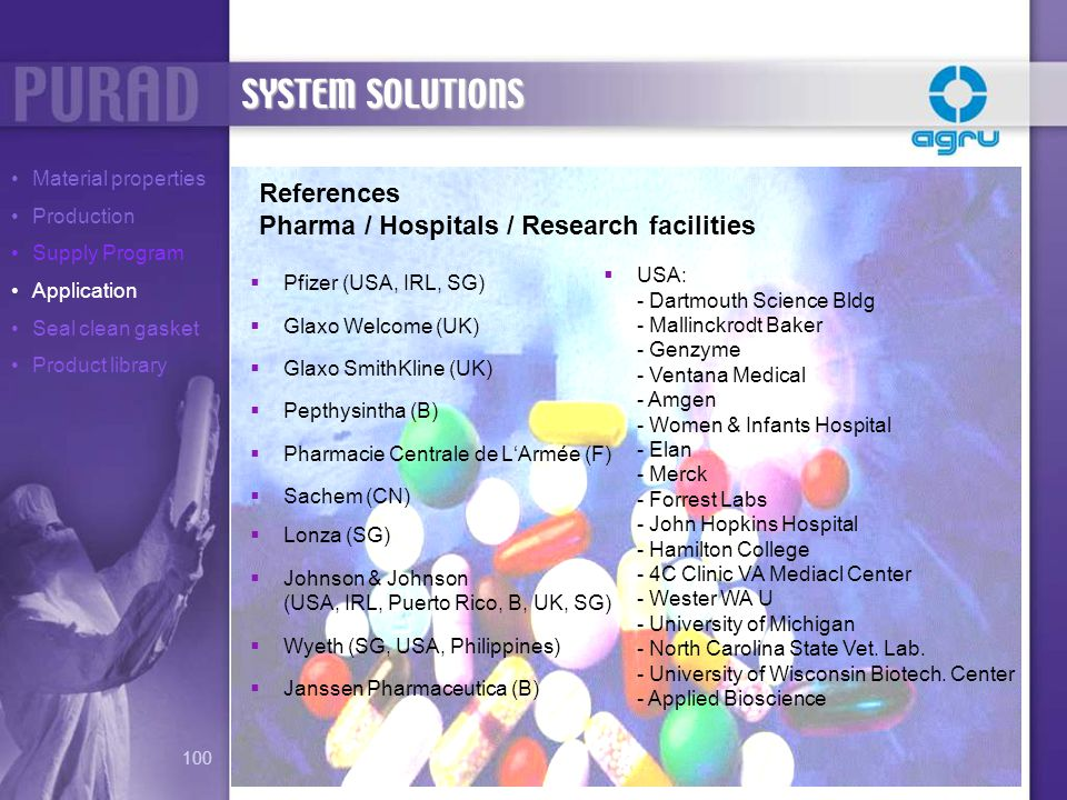 SYSTEM SOLUTIONS References Pharma / Hospitals / Research facilities
