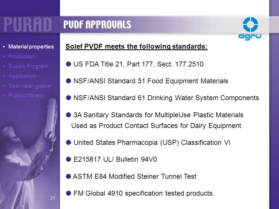 PVDF APPROVALS Solef PVDF meets the following standards: