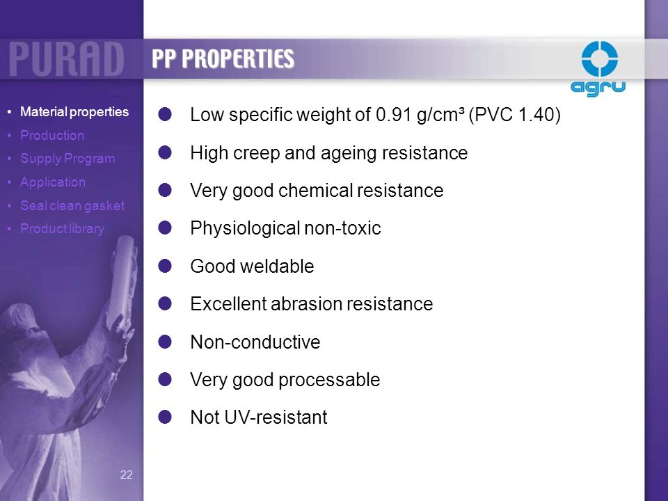 PP PROPERTIES Low specific weight of 0.91 g/cm³ (PVC 1.40)