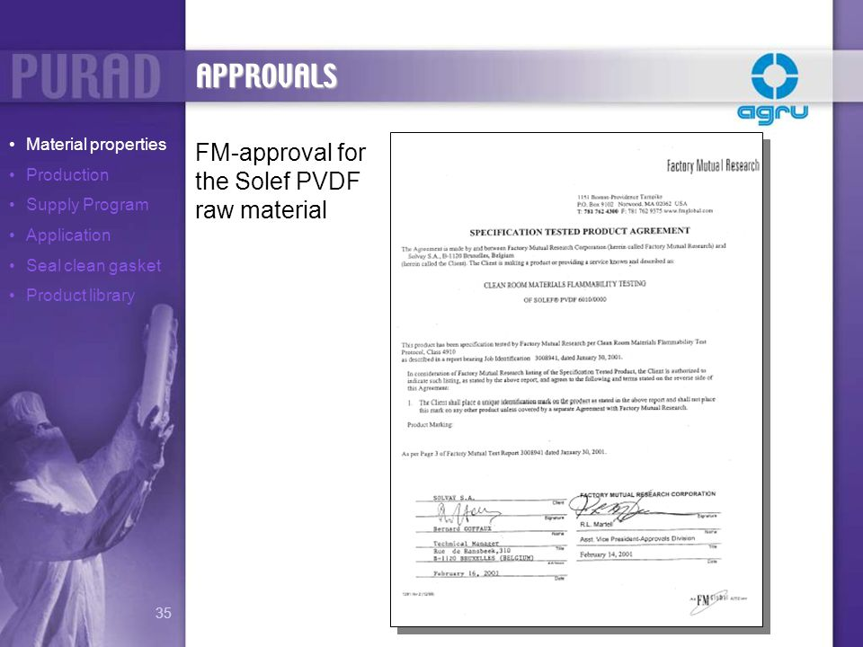 APPROVALS FM-approval for the Solef PVDF raw material