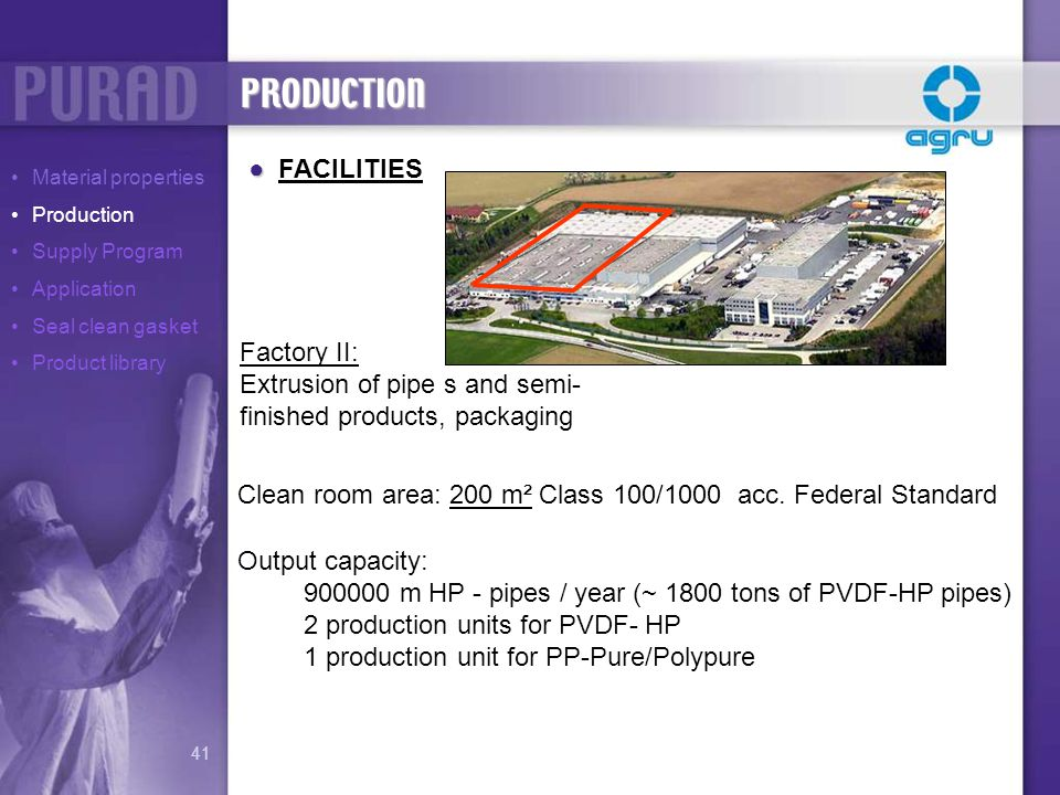 PRODUCTION FACILITIES Factory II: Extrusion of pipe s and semi-