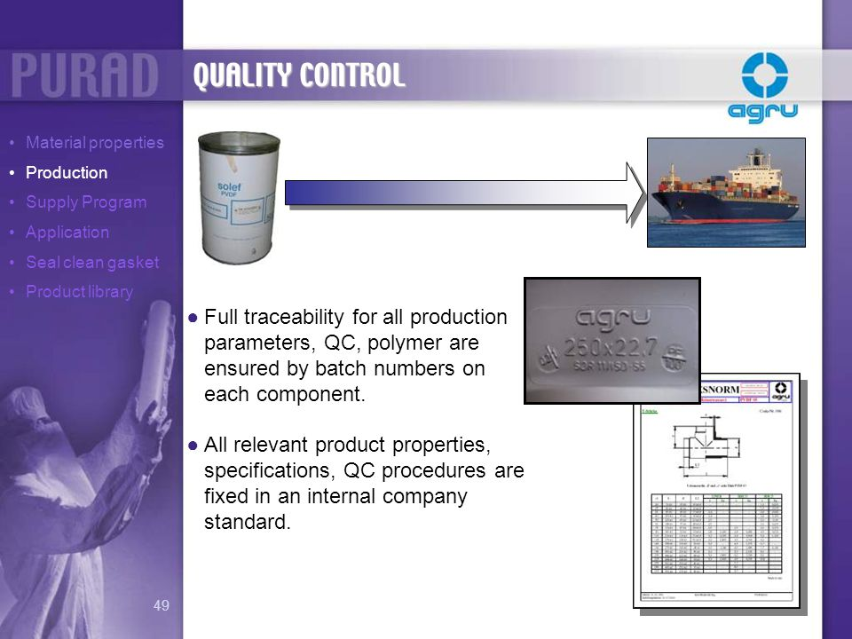 QUALITY CONTROL Material properties. Production. Supply Program. Application. Seal clean gasket.