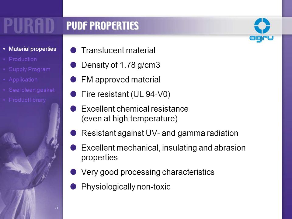 PVDF PROPERTIES Translucent material Density of 1.78 g/cm3