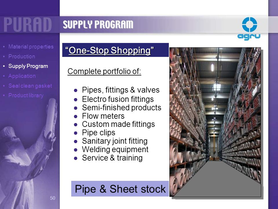 Pipe & Sheet stock SUPPLY PROGRAM One-Stop Shopping