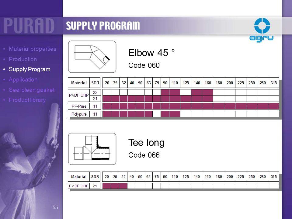 SUPPLY PROGRAM Elbow 45 ° Tee long Code 060 Code 066