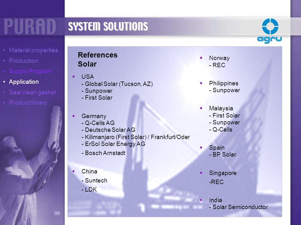 SYSTEM SOLUTIONS References Solar Material properties Production