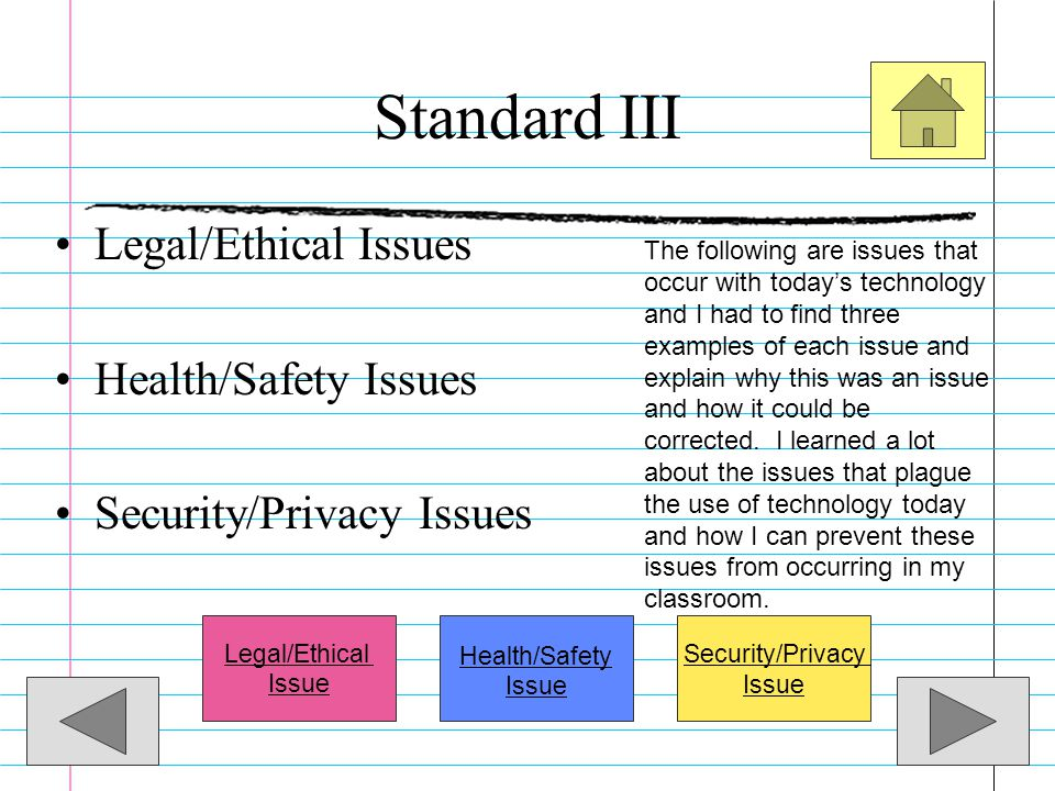 Standard III Legal/Ethical Issues Health/Safety Issues