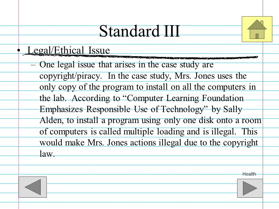 Standard III Legal/Ethical Issue