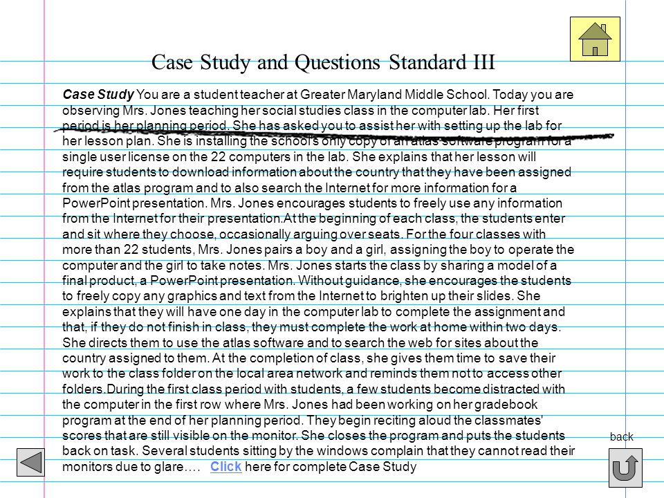Case Study and Questions Standard III