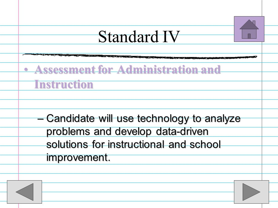 Standard IV Assessment for Administration and Instruction