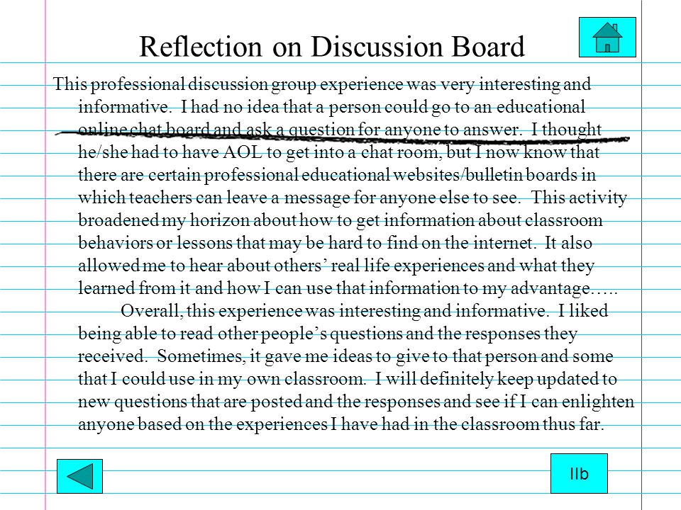 Reflection on Discussion Board