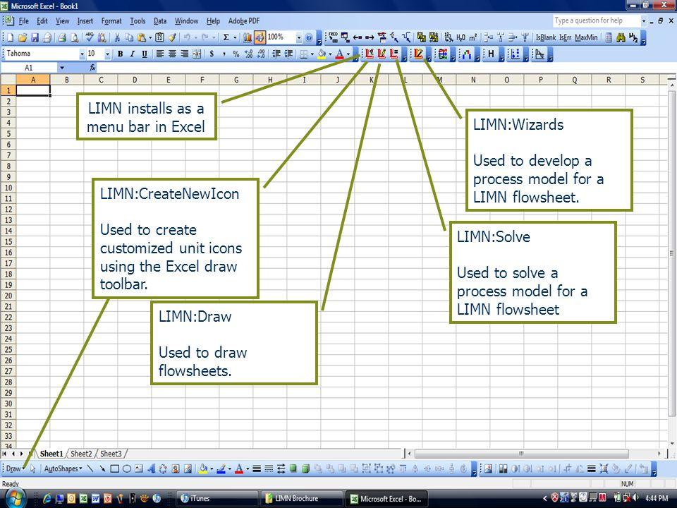 LIMN installs as a menu bar in Excel