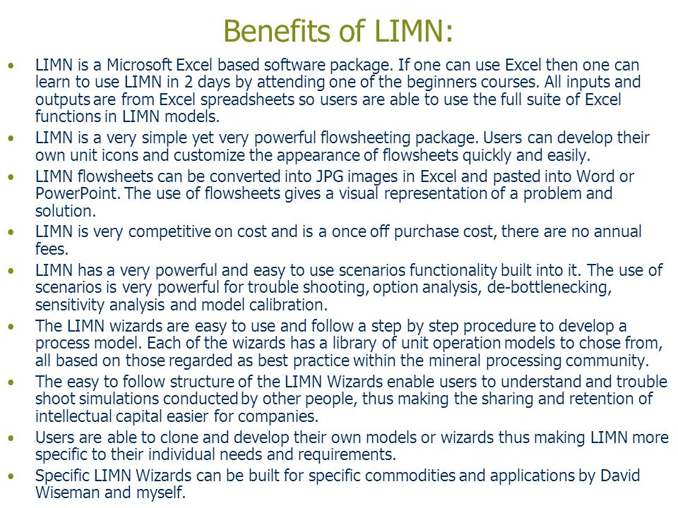 Benefits of LIMN:
