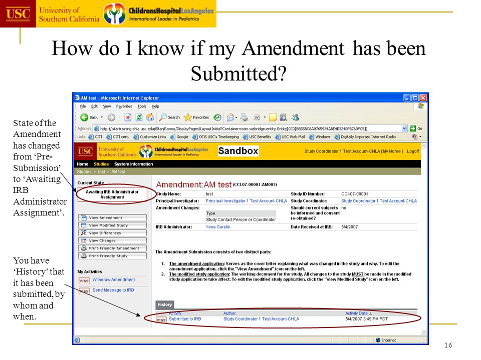 How do I know if my Amendment has been Submitted