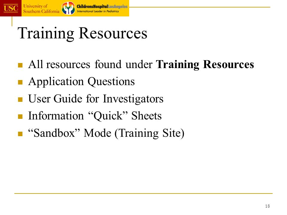 Training Resources All resources found under Training Resources