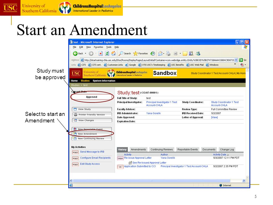 Start an Amendment Study must be approved Select to start an Amendment