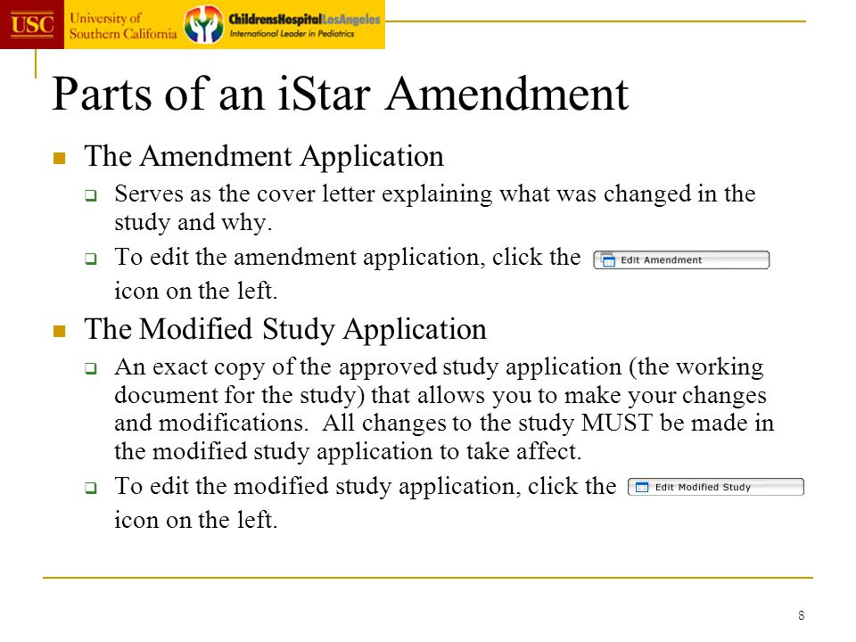 Parts of an iStar Amendment