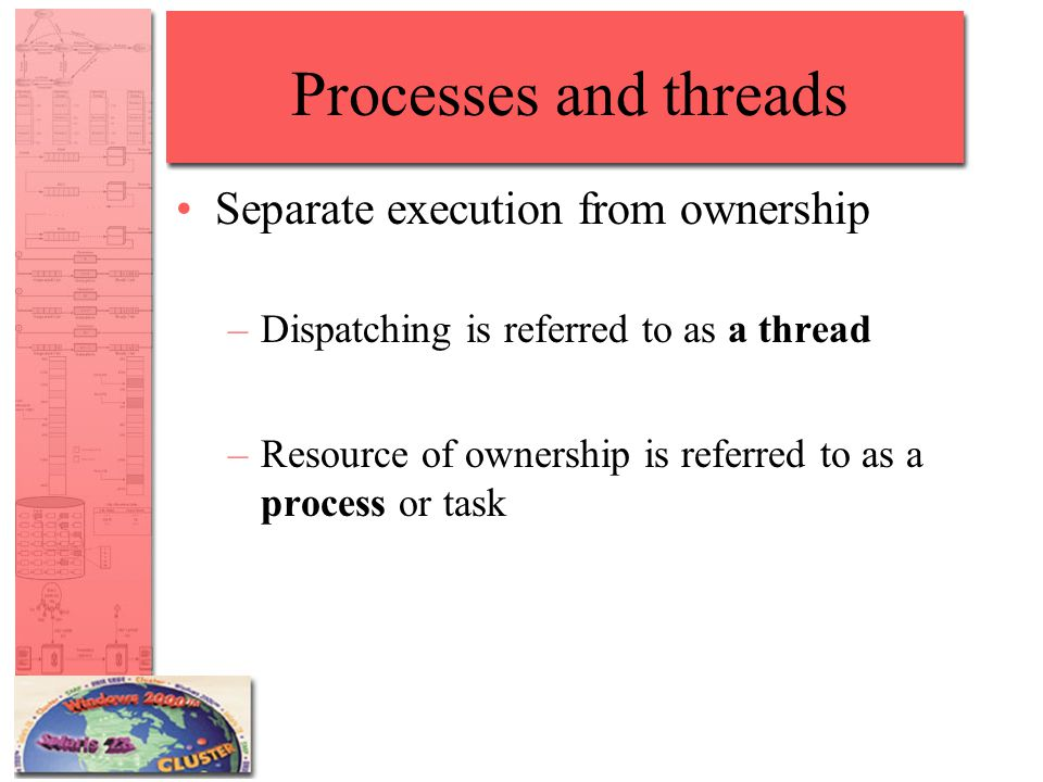 Processes and threads Separate execution from ownership