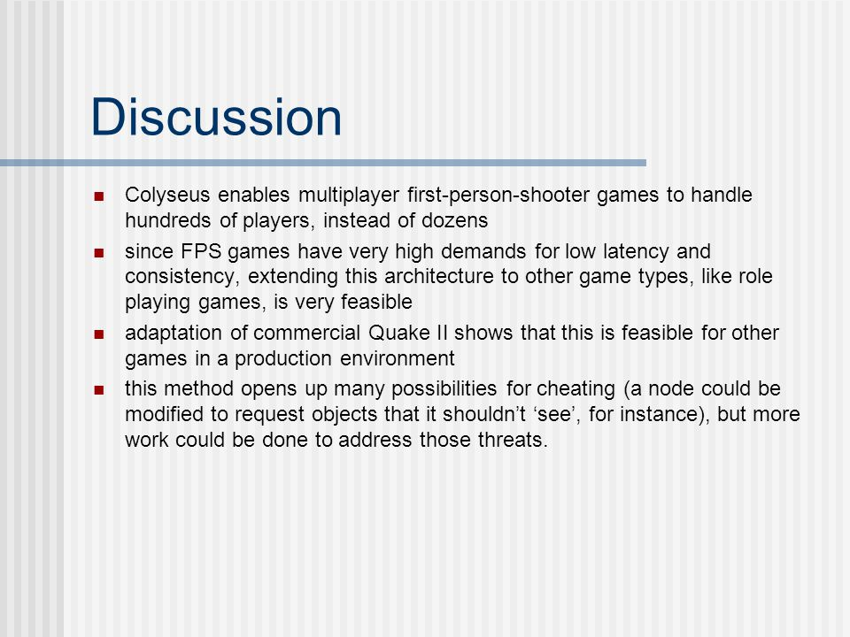 Discussion Colyseus enables multiplayer first-person-shooter games to handle hundreds of players, instead of dozens.