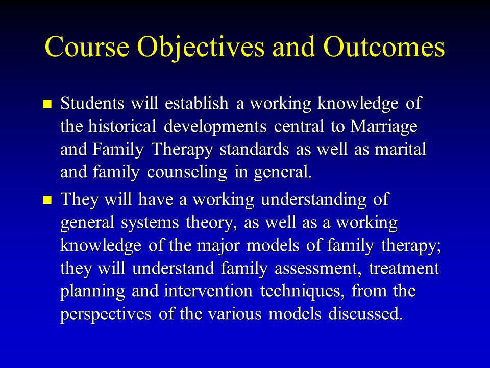 Course Objectives and Outcomes