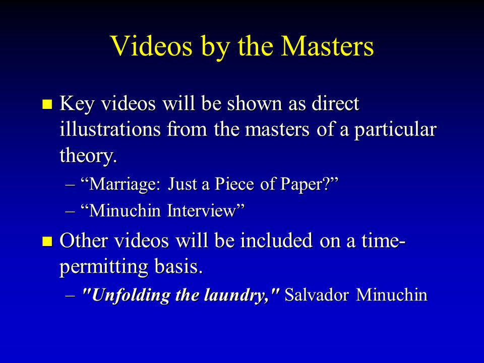 Videos by the Masters Key videos will be shown as direct illustrations from the masters of a particular theory.